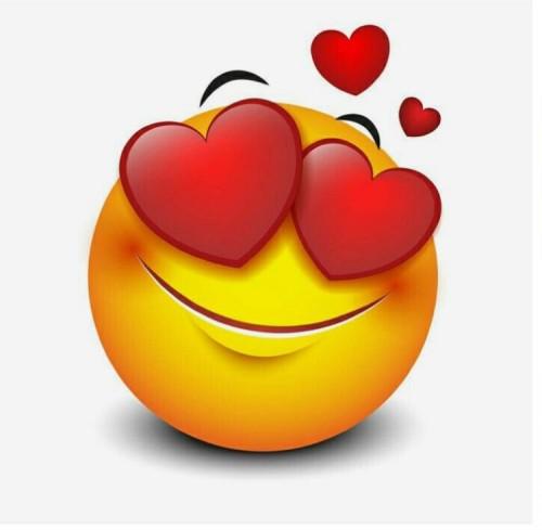 Смайлик: Любовь смайла с сердечками в глазах стрикер наклейка картинки gif  анимашки скачать